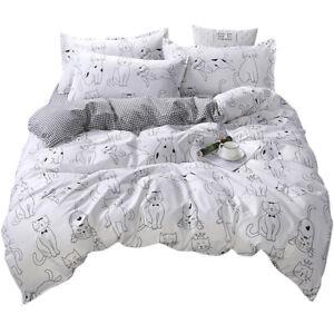 Cat Quilt Duvet Doona Cover Set Pillowcase Bedding Set Single Double Queen Size