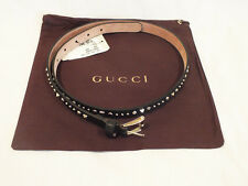 NWT AUTH GUCCI 380561 Black Leather Studded Belt  Buckle size 85B / 34