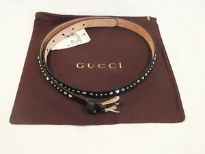 NWT AUTH GUCCI  Black Leather Studded Belt  Buckle size 85B / 34