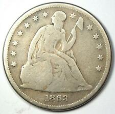 1863 Seated Liberty Silver Dollar $1 - Good Details (Counterstamp) - Rare Date!