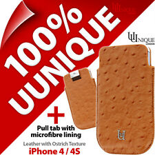 Uunique Safari Genuine Leather Pull Tab Pouch Case Cover for iPhone 4 / 4S