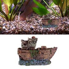 Aquarium Ornament Sunk Ship Wreck Boat Fish Tank Cave Decor Underwater Resin New