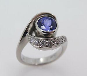 Platinum 2ct Round Tanzanite + 10 Round Diamonds3.8ct - Ring Size 7 (#00R12)