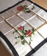 """CHANEL Scarf Stole Silk 100% Floral Flower Gold Chain Print Women New Rare 33"""""""