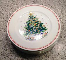 """Salem CHRISTMAS EVE Porcelain 10 3/8"""" DINNER PLATES (Red Band) Set Of 4 ~ Lot B"""