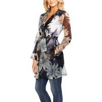 Vince Camuto Womens Pagoda Blossoms Navy Floral Trench Jacket Coat L BHFO 4548