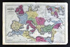 1844 Smith Map Roman Empire Europe Mediterranean Italy Rome Greece Athens Africa