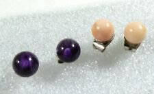 Lot of 2 ball round cut Purple Amethyst & Pale Pink Coral stone Stud Earrings