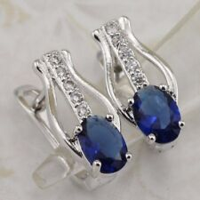 Crazy Nice London Blue Oval Gems White Jewelry Gold Filled Huggie Earrings E2981