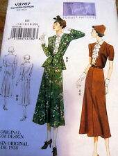 1930s VOGUE VINTAGE MODEL DRESS & JACKET SEWING PATTERN 8-10-12-14 UNCUT