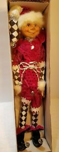 "NWT 20"" Santas ELF- Elves Poseable Figurine CHRISTMAS Arlequin Pink/ Black / Box"