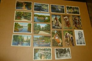 LOT OF 18 VINTAGE POST CARDS FROM HAYWARD, WISCONSIN DELLS, AND MERCER WISCONSIN