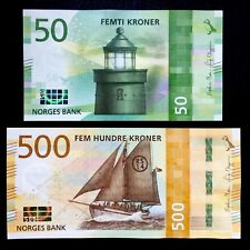 SET 2018 NORWAY 50 500 KRONER P-NEW UNC > UTVAER LIGHTHOUSE RESCUE CUTTER RS14
