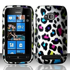 For Nokia Lumia 710 Rubberized HARD Case Snap on Phone Cover Rainbow Leopard