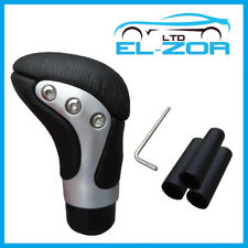 Black Chrome Leather Gear Shift Knob Stick Manual Shifter Selector Lever Change