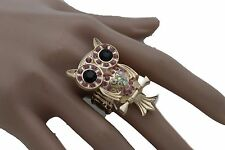 Band Owl Bird Pink Beads Animal Women Gold Metal Ring Fashion Jewelry Elastic