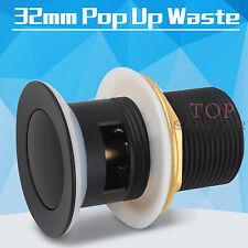 BLACK BATHROOM POP UP WASTE PLUG WITH OVERFLOW  BASIN VANITY SINK DRAIN 32mm