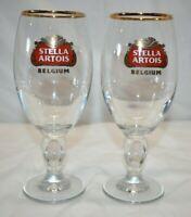 Stella Artois Gold Rimmed Chalice 33 cl Stemmed Beer Goblet Glasses Set of 2