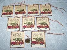 Christmas~Primitive~Woody Wagon~Linen Cardstock~Gift~Hang~Tags~Ornies
