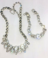 Eisenberg Ice Clear Rhinestone Necklace & Bracelet Demi Icing Vintage Jewelry
