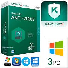 Kaspersky Antivirus 2017 _ 1 ANNO x 3PC - Aggiornamento - Nuova instalazione