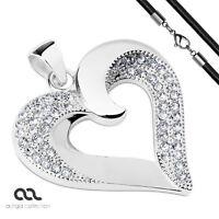 Anhänger Herz Heart Edelstahl Halskette Zirkonia Kristalle Lederkette Damen