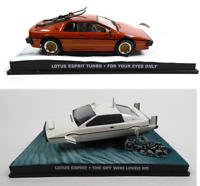 Set of 2 Model Cars James Bond 007 1:43 Lotus Esprit + S1 Eaglemoss Diecast LJB3