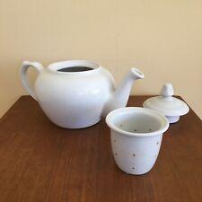 New listing Vintage Porcelana Veracruz Teapot with Infuser, White Porcelain