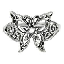 BUTTERFLY PENTACLE Ring Sterling Silver Sz 8 Dryad Design Pentagram Pagan