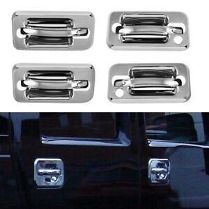 FOR 2003-2009 HUMMER H2 SUV SUT CHROME DOOR HANDLE COVERS TRIMS OVERLAYS W/ PSKH