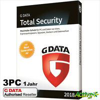 G Data Total Security 3 PC 2018 VOLLVERSION | Upgrade GData TOTAL PROTECTION NEU