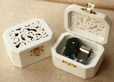 WHITE WOOD OCTAGON CARVING MUSIC BOX ♫  GREENSLEEVES ♫