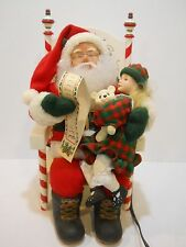 Holiday Creations SANTA CLAUS GIRL ON LAP WITH WISH LIST  Animated Motionette