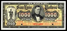 El Banco de San Luis Potosi 1,000 Pesos SPECIMEN, M490s / BK-SAN-32.5 UNC