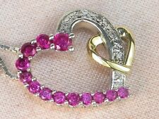 "Sterling Silver & 10k Gold Ruby-.46 tcw & Diamond Heart Pendant Necklace-18"""