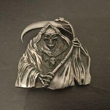 GRIM REAPER New BELT BUCKLE Silver Colour Metal Skull Symbol Death