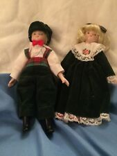 Set Of Fabric Stuffed Dolls With Porcelain Head, Feet And Arms