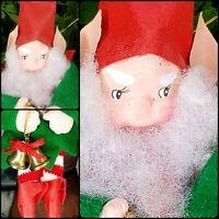 Fabulous Vintage Paper Mache Elf Ornament Taiwan Felt Bells Red  Pixie Gnome [E3