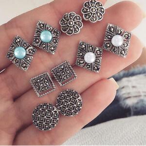 5 Pairs/set Women Retro Boho Style Earrings Ear Stud Ethnic Trinket Gift C