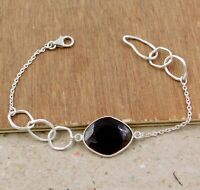 Smoky Quartz Gemstone Handmade Woman's Wear Bracelet Solid 925 Sterling Silver