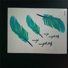 Designer Shoulder Back Waist Decal Green Feathers Temporary Tattoo Sticker