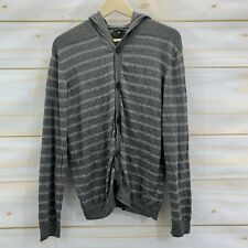 Sons of Intrigue Sweater Large Gray White Stripe Cardigan Hooded Button Up B107