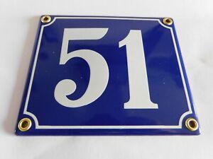 Old French Blue Enamel Porcelain Metal House Door Number Street Sign / Plate 51