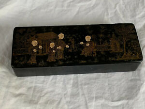 Antique Japenese Chinoiserie Black Paper Mache Box