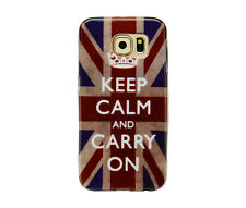 TPU Case f Samsung Galaxy S6 Schutzhülle Tasche Cover Keep Calm and Carry On UK