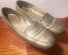 CHANEL Gold Leather CC Square Toe Loafers Ballet Flats Sz 40