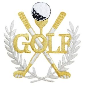 """Golf Applique Patch - Gold/Silver, Links, Golfing Badge 3.5"""" (Iron on)"""