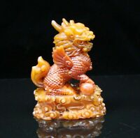 Chinese Shoushan Stone Jade Handmade Carved Statue Lion Exquisite