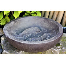 Fontaine pour bain d'oiseau d'oiseaux motif poissons ciment,résistant au