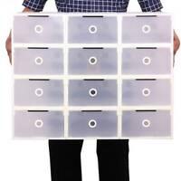 10PCS Plastic Shoe Storage Boxes Drawer Stackable Foldable Durable Organiser